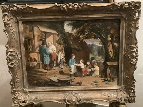 """English Genre Scene Circa 1830 Family Oil 14x19"""""""