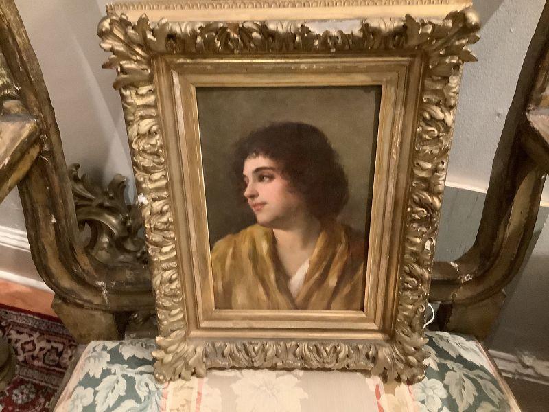 "Italian Artist Ernesto Serra 1860-1915 Portrait in Oil  9x6"""