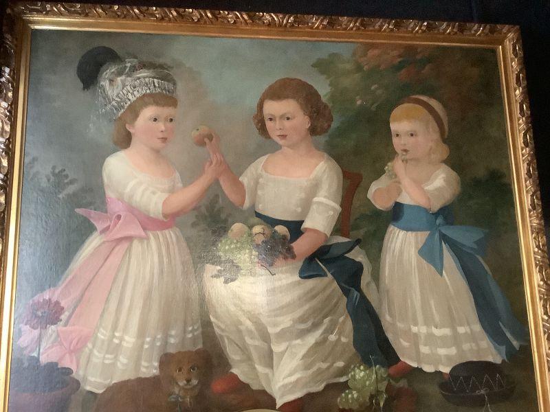 "Important American Folk Art Painting Of Children 1820 38x48"""
