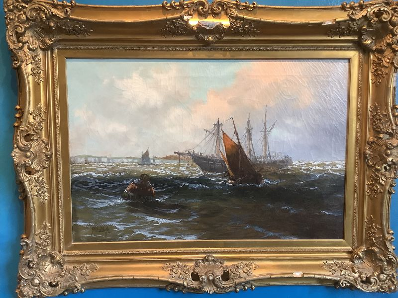 "English Artist G.Sutliffe ""Off The English Coast"" Oil 21x30"""
