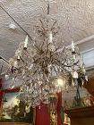 """French 1920s Chandelier Brass and Crystal 36""""x30"""""""