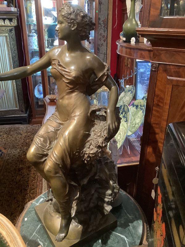 """Bronze Sculpture of Aurora by Artist Gustav Michel 1854-1924 32"""""""