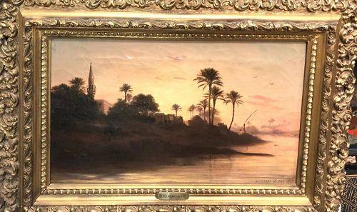 """French Orientalist Painter Alexander De Bar 1821-1908, """"The Nile Suez"""
