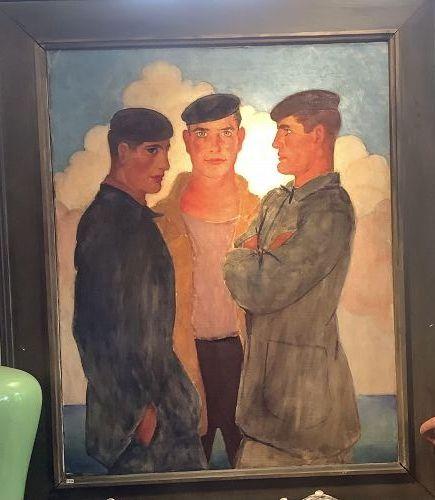 "Spanish ""The Sailors"" or ""Les Marine"" Modernist Oil Circa 1920 58""x48"""