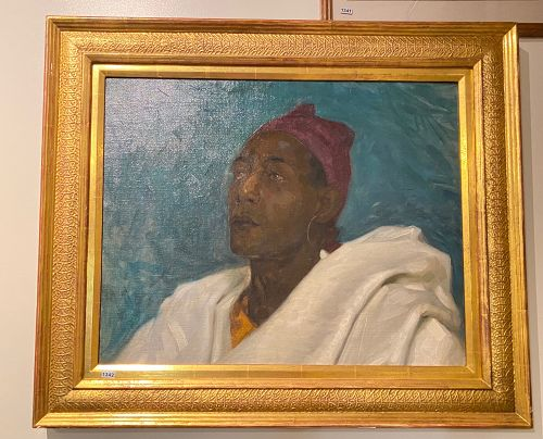 Moroccan Royalty Study In Oil  Early 20th Century