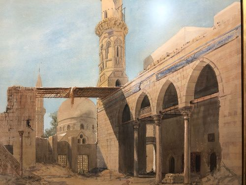 """Mosque Painting in Watercolor Signed Wachen 1863 22x29"""""""