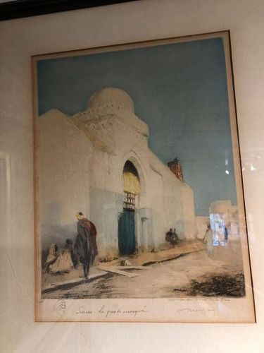 """Egyptian Mosque Woodblock signed """"Paris"""" with small sketch in pencil"""