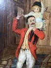 """British Artist, """"Father's Day"""", Oil Painting circa 1890 9x7"""""""