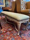 """Louis XIV Style Silk Bench Carved Gilded Wood 67"""""""
