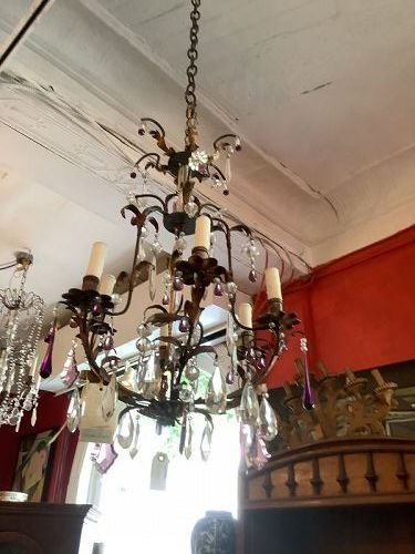 Electrified Italian Early 19th Century Crystal & Bronze Chandelier