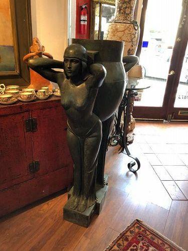 Important Art Deco Bronze Figurative Planter Circa 1920s