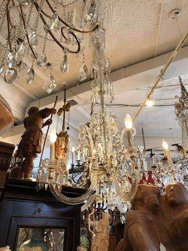 """French Empire Crystal Chandelier Silver accents 5 Light 32""""wide"""