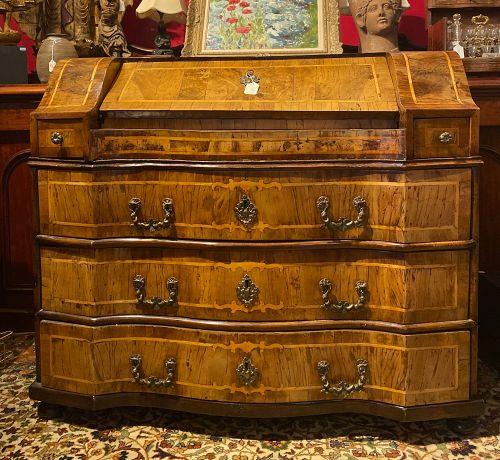 German Late 17th Century Olive Wood Secretary Desk
