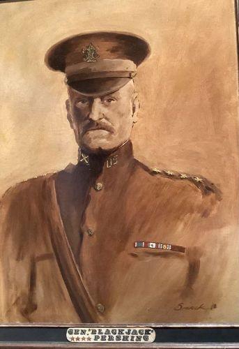 "Artist Smack Portrait of ""Black Jack"" Pershing dated 1918 Oil"