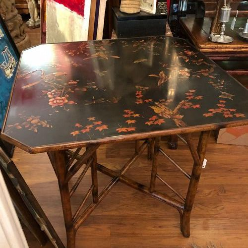 """20th Century English Bamboo and Lacquered Chinoiserie Table 40""""x32"""""""