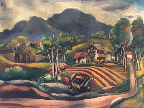 American Artist Sakari Suzuki 1899-1955 Modernist Landscape