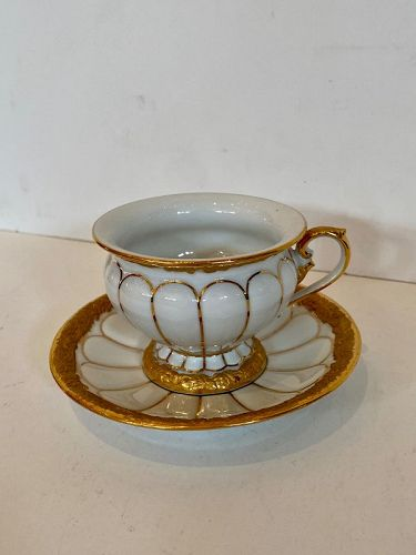 Meissen Porcelain Cup and Saucer with Gold Trimming