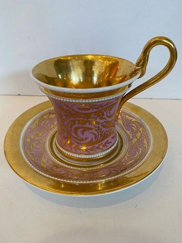 KPM Meissen Porcelain Cup and Saucer in Purple with Gold Laurel Wreath