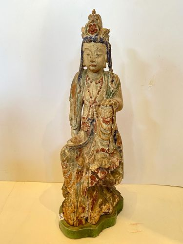 """Qing Dynasty  Guanyin Carved Wood 24"""""""