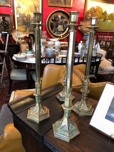 """Set of 4 Bronze Candlesticks Early 19th Century 20"""""""