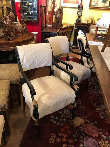 Set of 8 French Louis XVI Black Lacquer & Gilt Armchairs Chairs