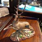 """French c1800 Porcelain Stag 7""""x7"""""""