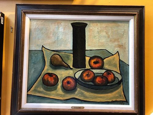 """Beautiful Still Life Oil  dated 1963 Signed Pisone 24x30"""""""