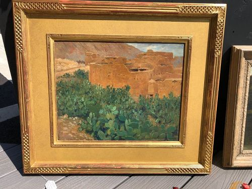 """Pierre Labouche French View of Egypt Near The Nile,c1890 Oil 21x24"""""""