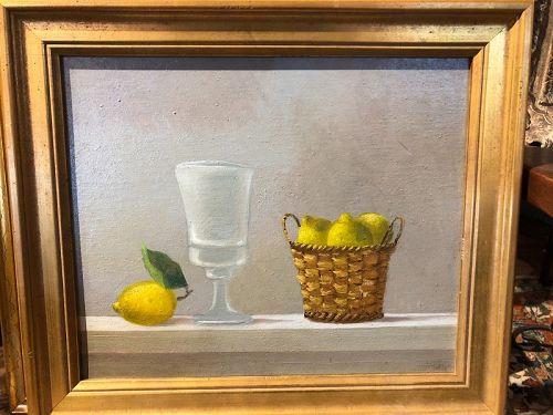 Italian Artist Mirandi niece of Georgio Morandi Still Life Lemons