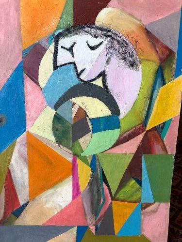 """Abstract Figure III"" By Abstract Artist Max Kassler 1905-1992 24x20"""