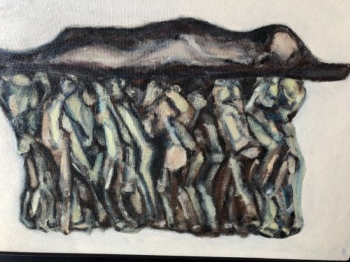 """""""The Procession"""" By Abstract Artist Max Kassler,Oil 24x31"""
