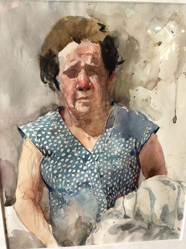 Watercolor Portrait of A Woman, signed RS
