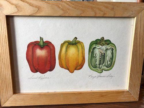 """Sweet Peppers"" by American Artist Karyn Francis Gray watercolor 10x14"