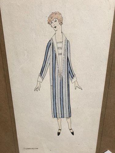 Costume Study in Gouache Signed M.E. Bickle,1920s