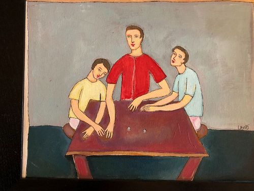 """""""The Dice Table"""" By Master American Artist Anne Lane 11x14"""""""