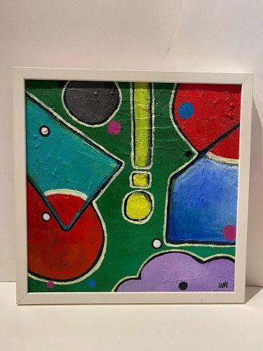 """Anne Lane American Artist Oil Painting 17x17"""" Framed"""