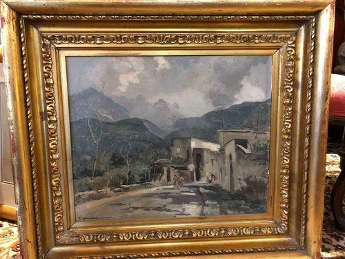 "V. Giannaccini Italian 1905-1965 ""Arid Landscape"" Oil, 25x28"""