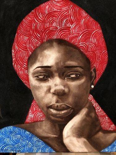 "Nigerian Artist Nwabuele Oil On Canvas ""Melancholy"" 29x26"""
