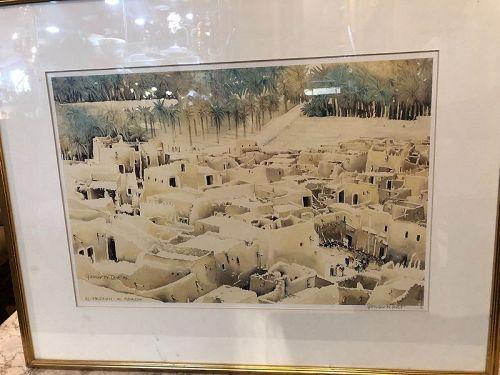 "Spencer W. Tart English  Artist 14x20"" Al-Majinah Riyadh lithograph"