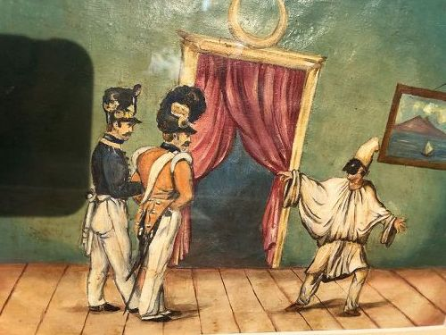 Nineteenth Century Italian Soldiers and Punchinello by Unknown  Artist