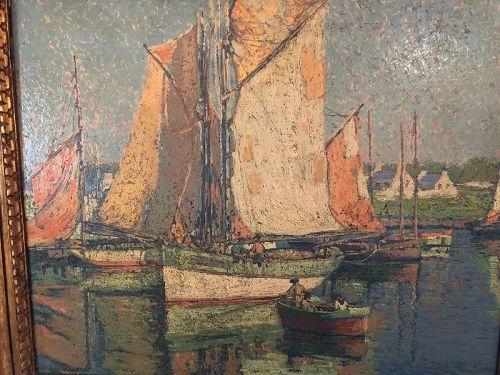 """Edgar A.Payne American 1883-1947 """"Sailing Harbor"""" Oil 25x29"""""""