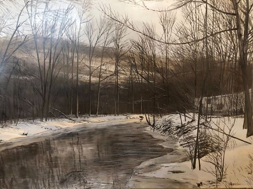 "Robert Hamblen American b.1932 ""Snowcape"" Mid-Century 18x24"""