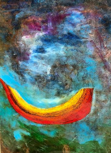 """Abstract Modernist Painting By Sharon Pedro 1988 28x19"""""""