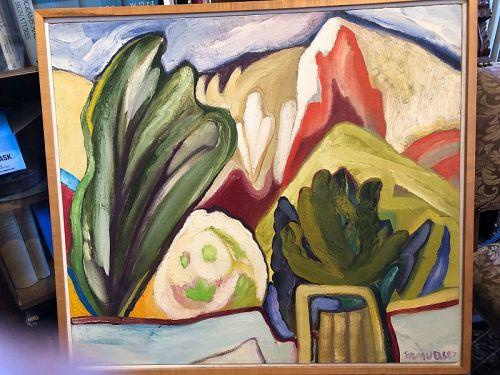 """Southwest Abstract Landscape Signed Samuels 1987 framed 24x27"""""""