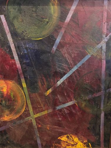 """Abstract Geometic Oil Painting Unsigned From 1960s Framed 22x18"""""""