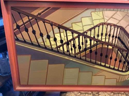 """Francois Sylvand French Artist Oil """"The Stairwell"""" 16x30"""""""