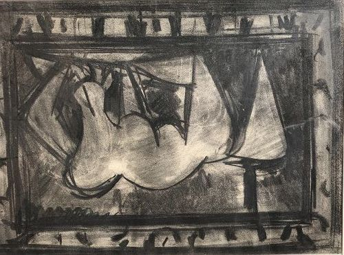 """Manfred Schwartz Charcoal Study Abstraction  24x28"""""""