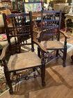 Pair English Yew Wood Rush Seat Spindle Back Armchairs circa 1790
