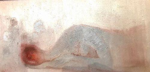 """Ernesto Alcantar Mexico Artist  Abstract Oil 15x48"""""""