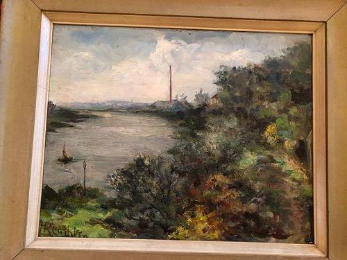 "French Landscape circa 1890 Signed Reuchler 13x16"" Oil on Panel"